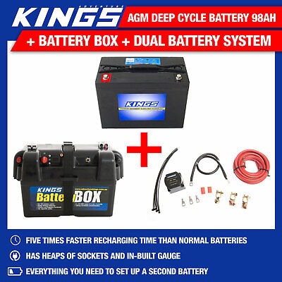 Adventure Kings AGM Deep Cycle Battery 98AH + Battery Box + Dual Battery System