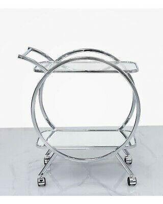 Modern Chrome Serving Drink Drinks Push Tea Hostess Trolley Glass Tray