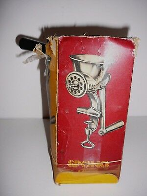 Vintage National Spong Meat Mincer No. 20 Metal in Original Box Collectable