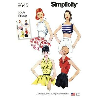 Simplicity Women's Vintage 50s Halterneck Tops Sewing Pattern 8645