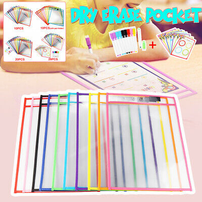 28Pcs Dry Erase Pocket Sleeves Write & Wipe Pen Pockets Paper Learning Tool Kit