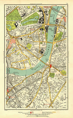LONDON. Lambeth Westminster Victoria Oval Waterloo Charing Cross 1937 old map