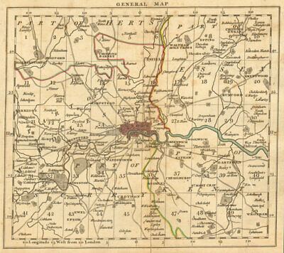 LONDON. 15 miles around London. General index map. Cary. 1811 old antique