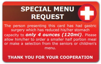 Bariatric Gastric Stomach Surgery Reduced Meal Size Request Card