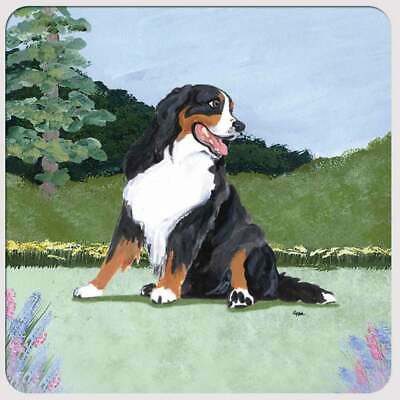 bernese mountain dog coffee cafe art tile coaster gift JSCHMETZ modern folk