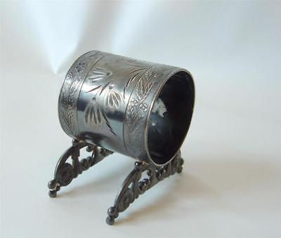 Antique Wm Rogers Silverplate Napkin Ring Embossed Victorian Footed  Mono  M F