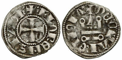 FORVM Crusaders Principality of Achaea Florent of Hainaut V. Rare Silver Denier