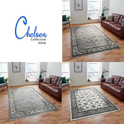 Blue Cream Grey Large Living Room Area Carpet Oriental Traditional Floral Rugs