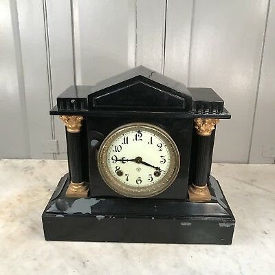 Antique Victorian black slate mantel clock - restoration project