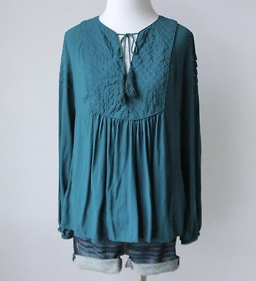 4a485f9b52 FOREVER 21 XXI Ladies Embroidered Tie Neck Boho Peasant Shift Shirt Top  Blouse S