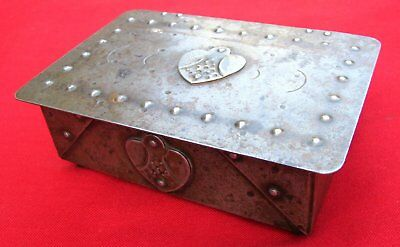 Antique Signed Scarce Small Hand Wrought Iron Box  By Goberg ~ Circa 1915