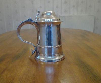 Antique Georgian English Sterling Silver Lidded Tankard Hallmarked George Iii