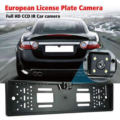 EU Cars License Plate Frame Rear View Reverse Backup Parking Night Vision Camera
