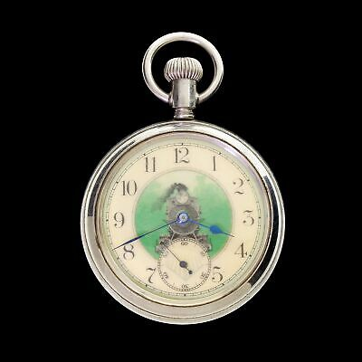 Antique 1905 New England Watch Co Train Pocket Watch Locomotive Dial Fancy Dial