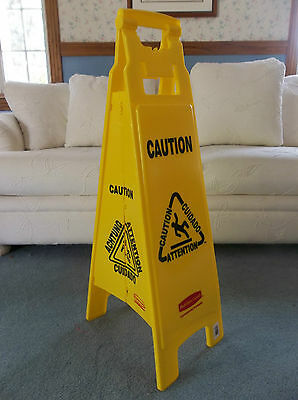 """38"""" Rubbermaid Caution Wet Floor Sign 4 Sided Multi-Lingual Caution Sign 6114-00"""
