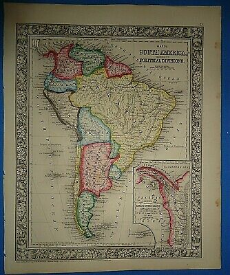 *SALE*- 1860 SOUTH AMERICA - PANAMA MAP Old Antique Original Atlas Map ~A