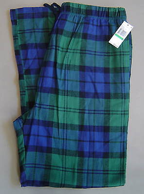 NWT $38 NAUTICA Mens L PAJAMA LOUNGE PANT Cotton FLANNEL Green Navy Plaid WP3438