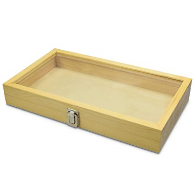 Case Clasp Wooden Glass Clear Top Display Storage Jewelry Wood Box Organizer