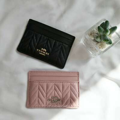 NWT COACH Quilted Pebbled Leather Card Case F73000 $98