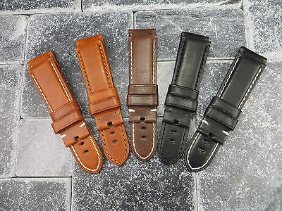 New 24mm Soft Cow Leather Strap Black Brown Deployment Watch Band PAM 24 mm
