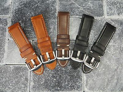 New 24mm Soft Cow Leather Strap Black Brown Tang Watch Band PAM 24 mm