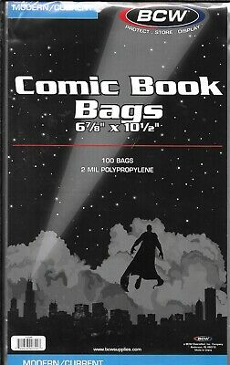 (100) Bcw Current / Modern Comic Book Size Bags / Covers With Free Shipping