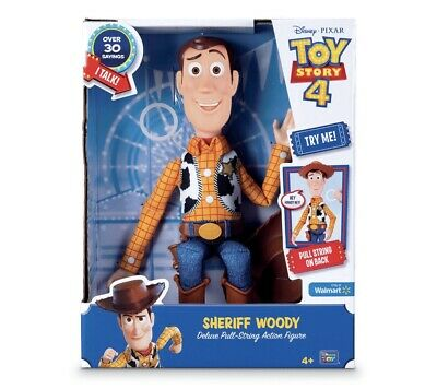 """Toy Story 4 Woody Deluxe Pull-String Talking Action Figure 14"""" NEW in Box"""