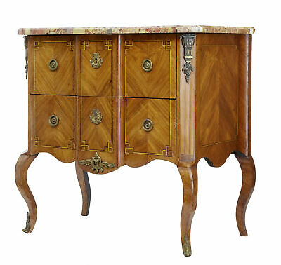 19Th Century French Kingwood Marble Top Commode Chest Of Drawers