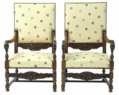 19Th Century French Carved Walnut Large Armchairs