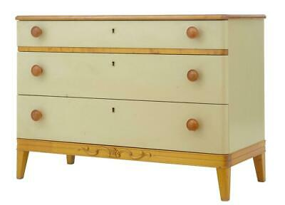 1960's ART DECO INSPIRED PAINTED ELM CHEST OF DRAWERS COMMODE
