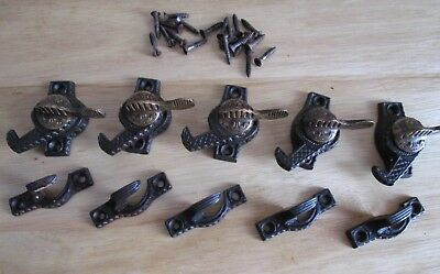 5 Antique Victorian Eagle-Claw Iron/Brass Window Sash Locks Pat.1894 by Ives