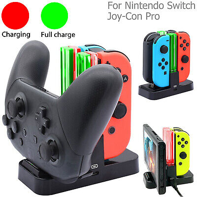 4in1 Controller Charger Stand LED Charging Dock for Nintendo Switch Joy-Con Pro