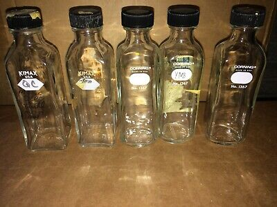 Five 160mL Kimax Corning Milk Dilution Bottles with Caps No. 1367 Lab