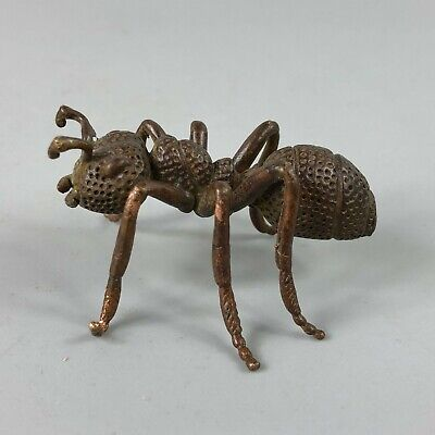 Collectible Rare Old Antique Copper Handwork Chinese Vivid Laborious Ant Statue