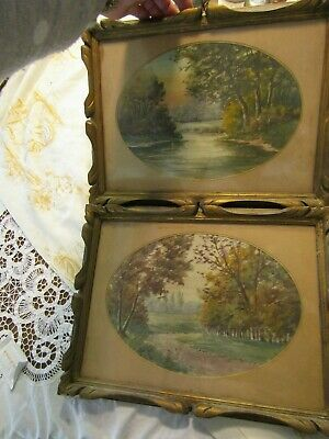 Lovely Pair Antique Watercolour Painting River Scene Oval Mounts Gilt Wood Frame