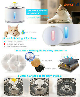 Stainless Steel Auto Cat Dog Water Drinking Fountain Pet Bowl Drink Dish Filter