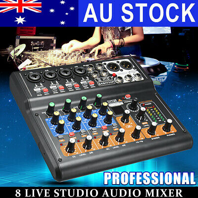Gappio Professional 8 Channel Live Audio Mixer Sound Mixing USB DJ Power Console