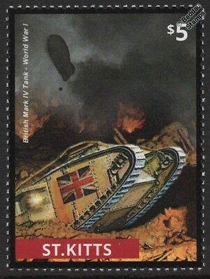 WWI British Army Mark IV Tank on Battlefield & Airship Stamp