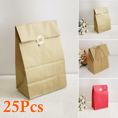 25pcs/set Kraft Paper Bag Wedding Candy Pattern Gift Useful DIY Vintage Brown