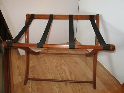 Vintage Mahogany wood folding Rack Stand luggage suitcase curved legs Guest room