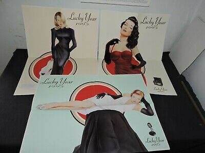 Lot de 3 poster Pin UP Lucky strike Bonne Année Happy Newyear 1995 BE cadillac