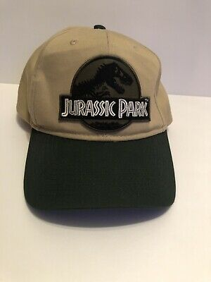 509c68364 JURASSIC PARK MOVIE Logo Yellow Sci fi Patch Green Khaki Snapback ...