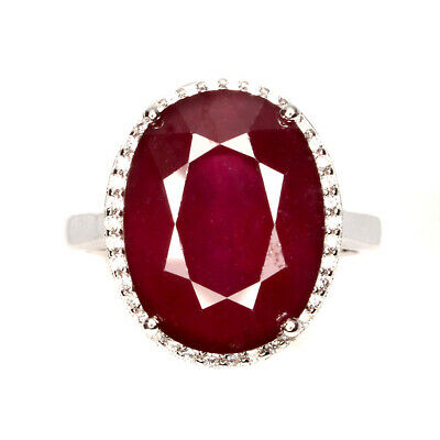 Gemstone Fine Jewelry Octagon Cut 7x5mm Top Blood Red Ruby Cubic Zirconia 925 Sterling Silver Ring 7 Lustrous