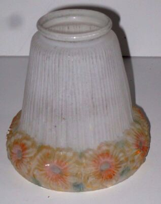 Antique Victorian Ruffled Frosted Satin Glass Light Shade With Sunflowers