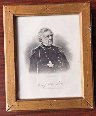 Antique East Lake Period Frame w/Engraving Of Lieut. Gen. Winfield Scott c:1862