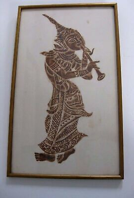 "Large Vintage Brown Ink Thai Temple Rubbing Framed ""Classical  Musician"""