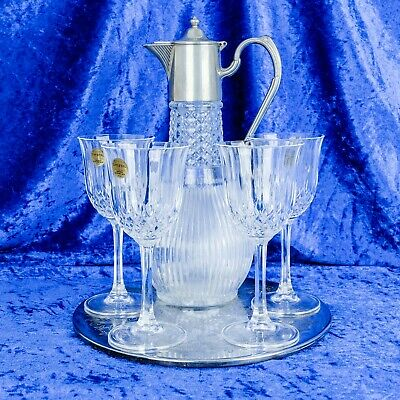 Vintage Art Deco Silver Plated Wine Claret Jug with 4 Wine Glasses and Tray