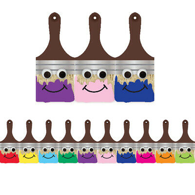 Hygloss Products Inc. - Happy Paintbrush Die Cut Classroom Border - 12 Pieces