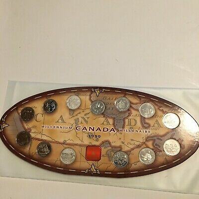 Millennium Canada 1999 13 coin set quarters first series symbols contest collect