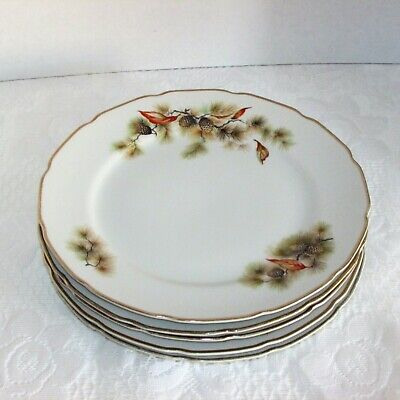 PINE TREE DINNER PLATES FINE TRANSLUCENT CHINA OF JAPAN 5 VINTAGE BRANCHES plate